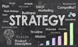 Leinwandbild Motiv Business Strategy on Blackboard
