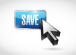 save blue button illustration design