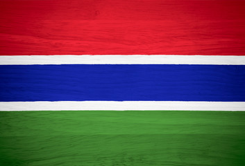 Gambia flag on wood texture