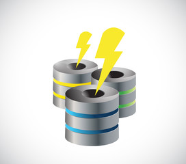 server and lightnings illustration design