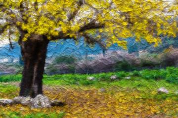 Autumn Tree Photo Painting