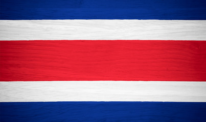 Costa Rica flag on wood texture