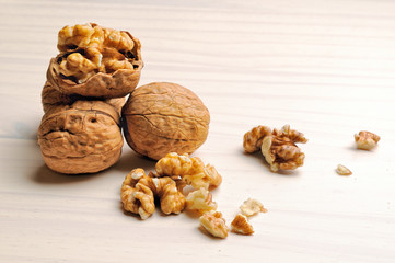 group of walnuts on a table