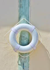 life preserver belt buoy on post