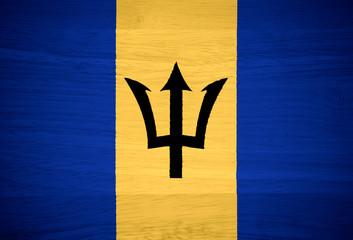 Barbados flag on wood texture