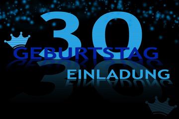 Blaue Einladung zum 30. Geburtstag