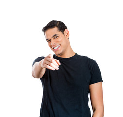 Young man laughing at someone, something pointing finger