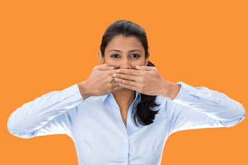 speak no evil, woman covers her mouth, keeps secret