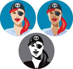 Pirate woman icon