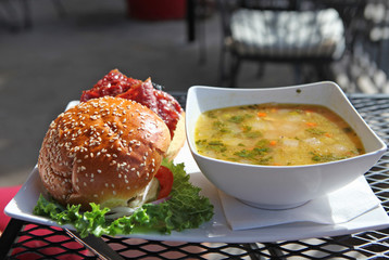 burger and soup