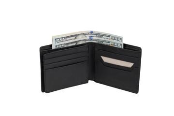 Black purse with money