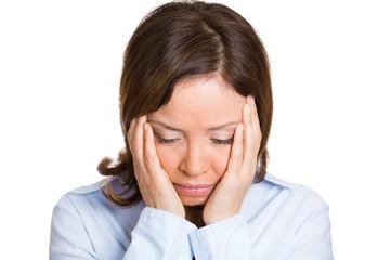 Portrait, headshot sad, upset, depressed middle aged woman