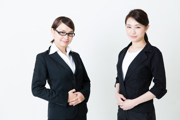 asian businesswomen on white background