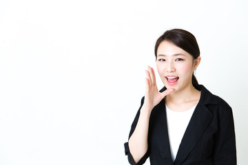 asian businesswoman calling on white background