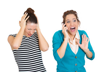 Loud obnoxious rude woman talking loudly on cell phone