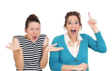 Pessimist, optimist, two women on white background