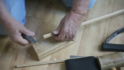cutting narrow strip of wood