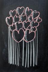 Hearts on blackboard