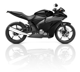3D Black Sport Motorcycle