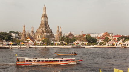 Time Lapse. Movement of boats on Chao Phraya River in Bangkok.