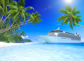 Cruise Ship at a Tropical Beach