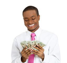 Portrait man holding dollar bills Happy to have cash