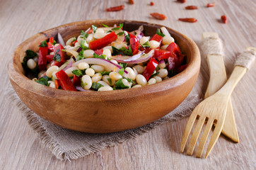 bean salad and various vegetables