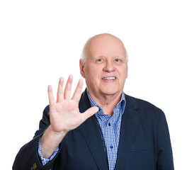 Senior man showing five hand gesture, number 5 fingers