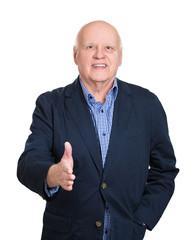 Senior man giving handshake, isolated on white background