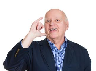 Senior man shows lets get drunk party hand gesture