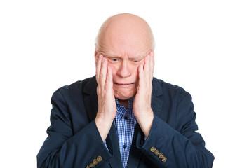 Depressed older man, crying, isolated on white background