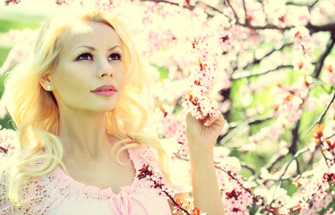 Blonde Girl with Cherry Blossom.
