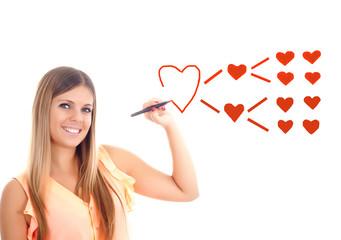cute girl drawing heart shapes