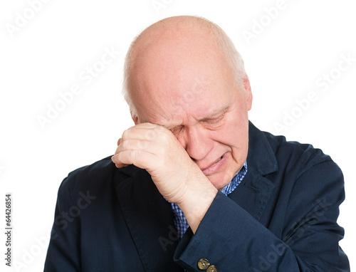 Headshot crying senior, lonely man on white background  - 64426854