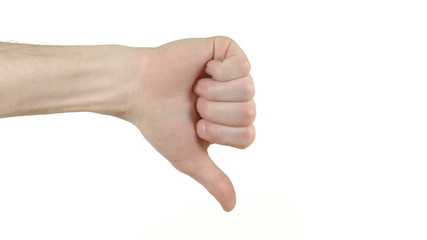 A hand gives the thumbs down sign