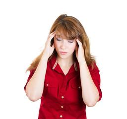 Headache. Portrait, headshot young sad, depressed woman