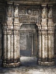 Kolumny starożytnej świątyni z posągami w kształcie lwów