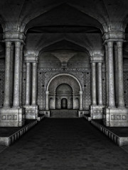 Wnętrze ciemnej starożytnej świątyni