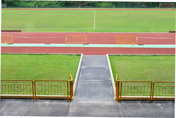 Grandstand View Of Stadium Running Track And Field