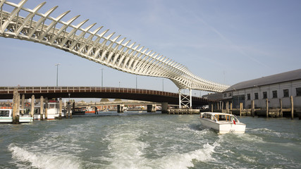 View on the bridges of Venice from a boat