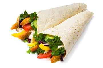 Kebab with vegetables and chicken isolated