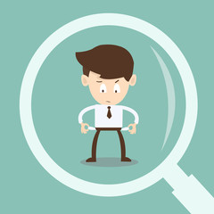 magnifying glass looking  businessman  auditing financial