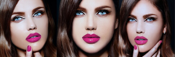 collage of beautiful woman model with pink natural lips