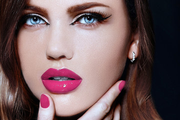 beautiful woman model with pink natural lips