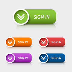 Colored rectangular web buttons sign in