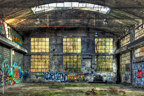 Interior of a derelict industrial building - 64430249