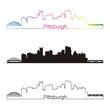 Pittsburgh skyline linear style with rainbow