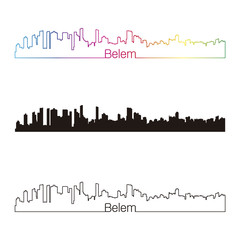 Belem skyline linear style with rainbow
