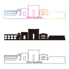 Montpellier skyline linear style with rainbow