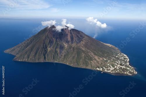 stromboli volcano at eolie island, Sicily, Italy